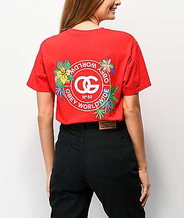 Obey Floral Graphic Red T-Shirt