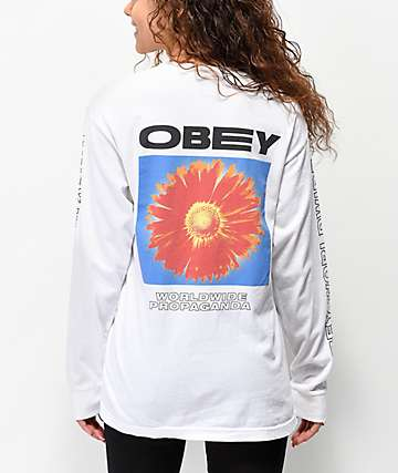 Obey Flower Power Salvage White Long Sleeve T-Shirt