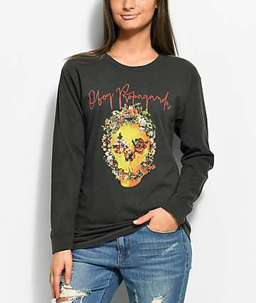 Obey Flower Skull Black Long Sleeve T-Shirt