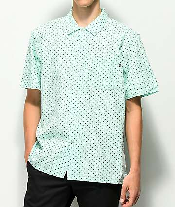 Obey Gavin Mint Short Sleeve Woven Button Up Shirt