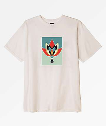 Obey Geometric Flower Natural T-Shirt