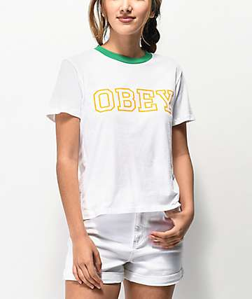 Obey Gig White & Green Ringer T-Shirt
