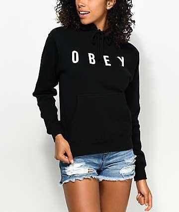 Obey Hardcore sudadera negra con capucha