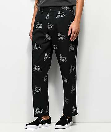 Obey Hardwork Labor Black & White Printed Work Pants