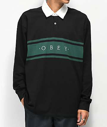 Obey Hero Classic Black & Teal Long Sleeve Polo Shirt