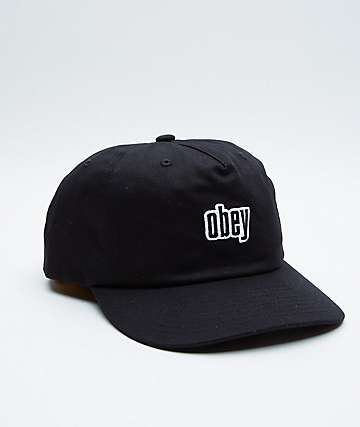 Obey Highland Black Strapback Hat