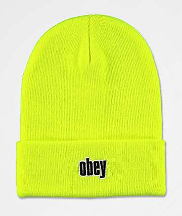 Obey Highlander Safety Green Beanie
