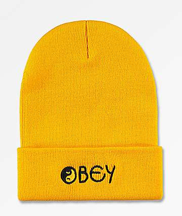 6c901a167ee Obey Imbalance Yellow Beanie