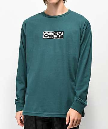 Obey Inside Out Pine camiseta de manga larga verde