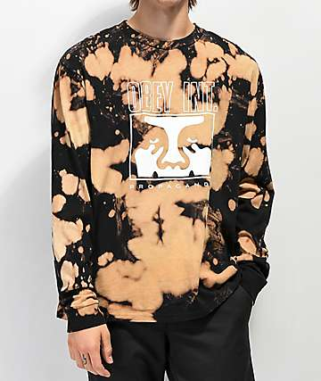 Obey Int. Icon Face Black Bleached Long Sleeve T-Shirt