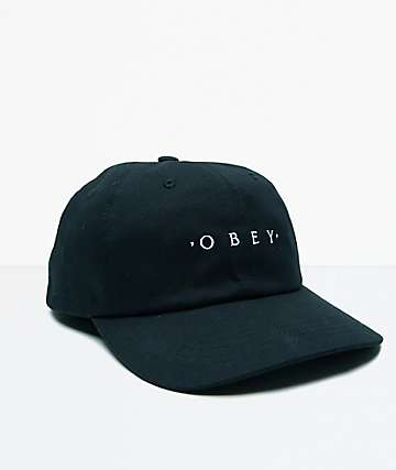 Obey Intention Black 6 Panel Snapback Hat
