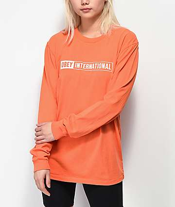 Obey International 2 Box Logo Pigment Orange Long Sleeve T-Shirt