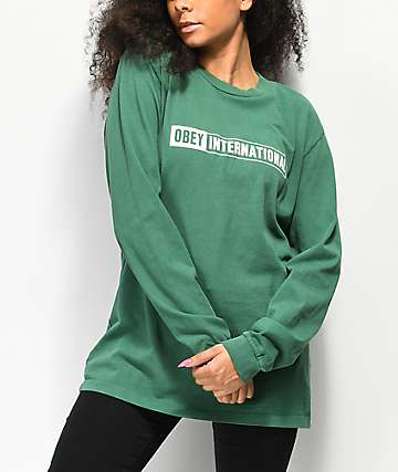 Obey International 2 Box camiseta verde de manga larga