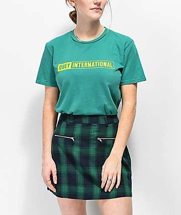 Obey International 2 camiseta verde azul