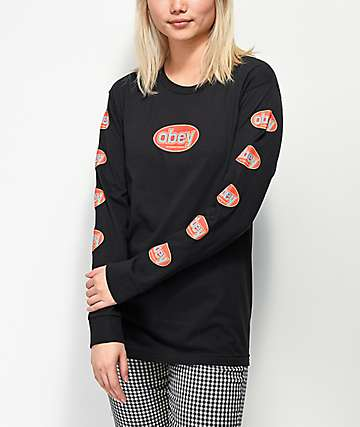 Obey International 3 Salvage Black Long Sleeve T-Shirt