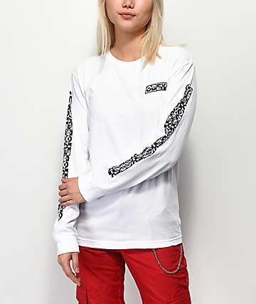 Obey International 3 Salvage camiseta blanca de manga larga