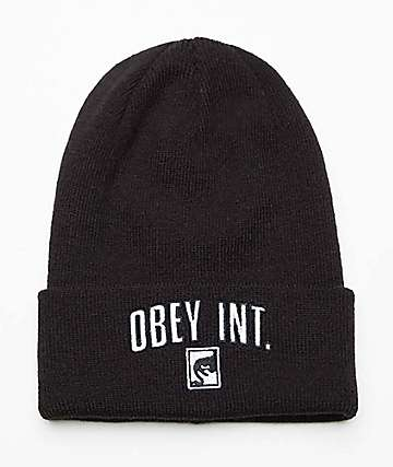 Obey International Black Beanie