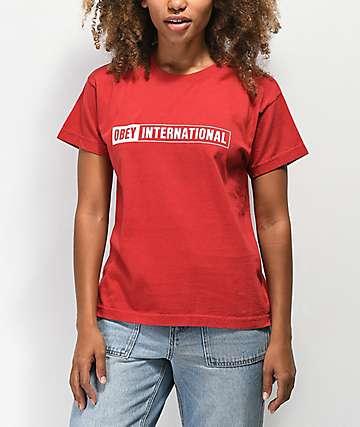 Obey International camiseta roja