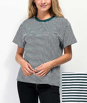 Obey Jive Box Pine Green & White Striped T-Shirt