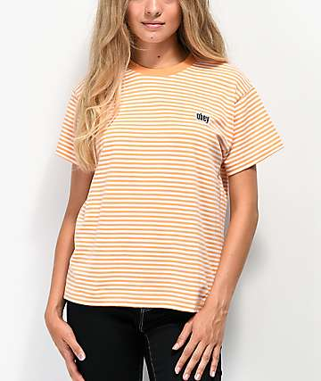 Obey Jive Box Squash Orange & White Striped T-Shirt