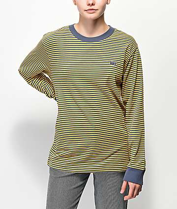 Obey Jive Mustard Striped Long Sleeve T-Shirt