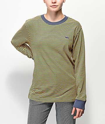 Obey Jive camiseta mostaza de manga larga de rayas
