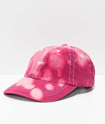 Obey Jumble Bleached Magenta Strapback Hat