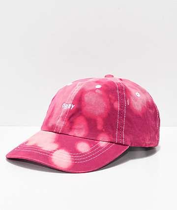 Obey Jumble Bleached Magenta Strapback Hat
