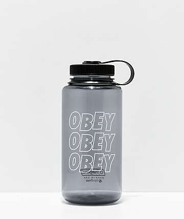 Obey Jumble Stacks Black & White Water Bottle