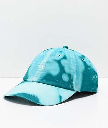 Obey Jumble gorra strapback en verde azulado blanqueado