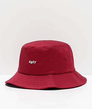 Obey Jumbled Big Red Bucket Hat