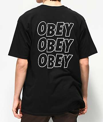 Obey Jumbled Eyes Black T-Shirt