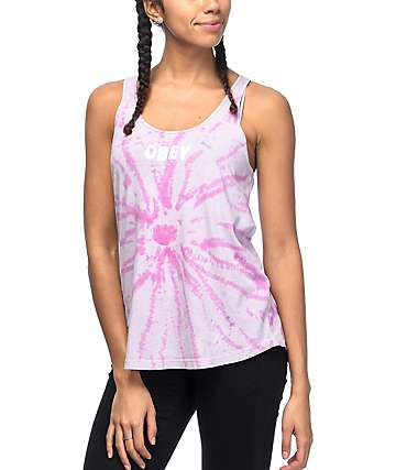 Obey Jumbled Liberty Pink Tie Dye Tank Top