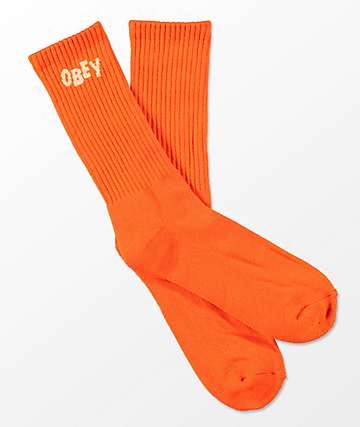 Obey Jumbled Orange Crew Socks