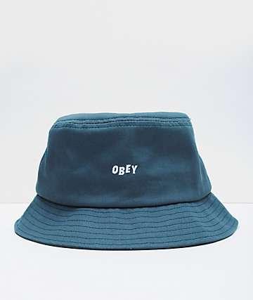 Obey Jumbled Teal Bucket Hat