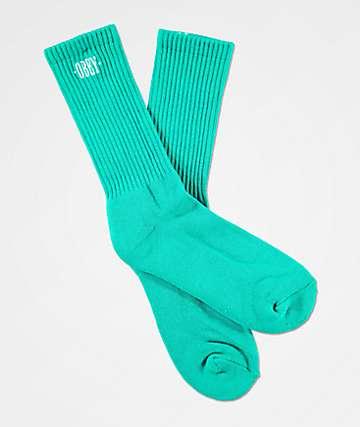 Obey Jumbled Teal Crew Socks