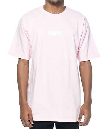 Obey Jumbled camiseta en rosa clara