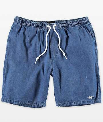 Obey Keble pantalones cortos de mezclilla con lavado azul