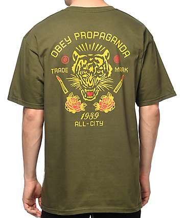 Obey Kiss Me Deadly Tiger camiseta en color verde olivo