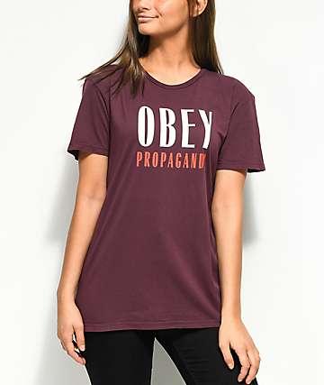 Obey Main Street Maroon T-Shirt