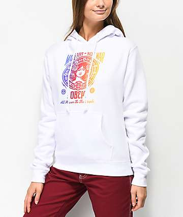 Obey Make Art Not War 2 sudadera blanca con capucha