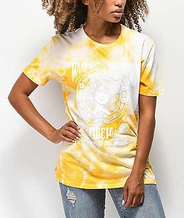 Obey Make Art Not War camiseta amarilla con efecto tie dye