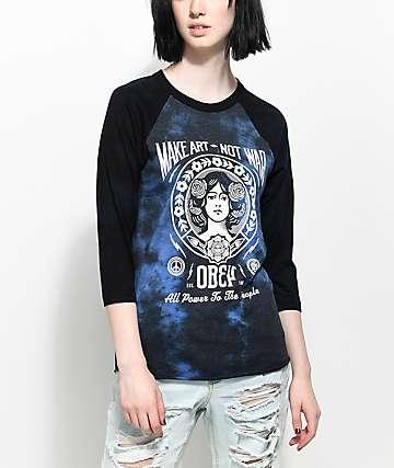 Obey Make Art Not War camiseta negra de béisbol