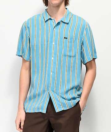 Obey Market Striped Woven Short Sleeve Button Up Shirt 8fd3ffcd2