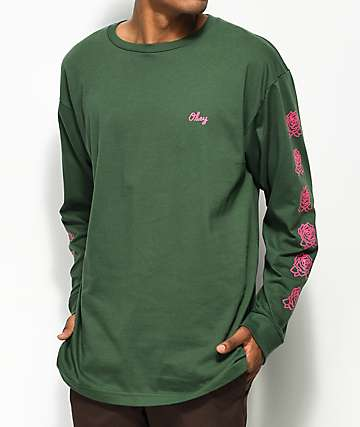 Obey Mira Rosa 2 Green & Pink Long Sleeve T-Shirt