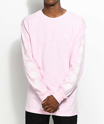 Obey Mira Rosa 2 camiseta de manga larga en rosa y blanca