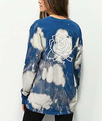 Obey Mira Rosa Box camiseta de manga larga azul blanqueada