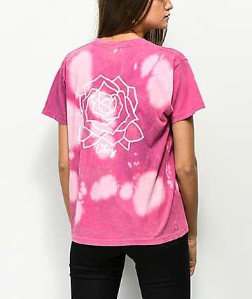 Obey Mira Rosa Box camiseta magenta blanqueada