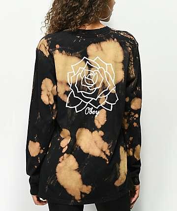 Obey Mira Rosa Box camiseta negra de manga larga blanqueada