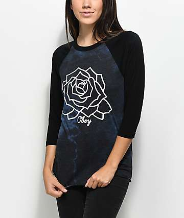 Obey Mira Rosa Long Sleeve Tie Dye Raglan Black T-Shirt